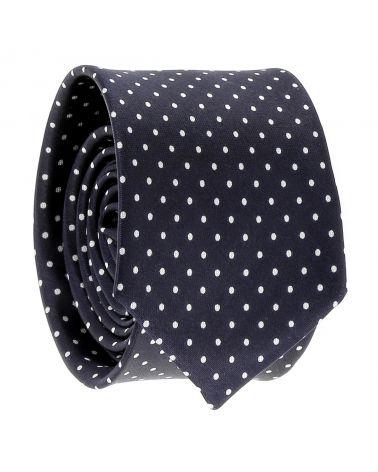 Cravate à Pois Bleu marine et Blanche