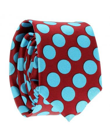 Cravate à Pois Bordeaux et Turquoise