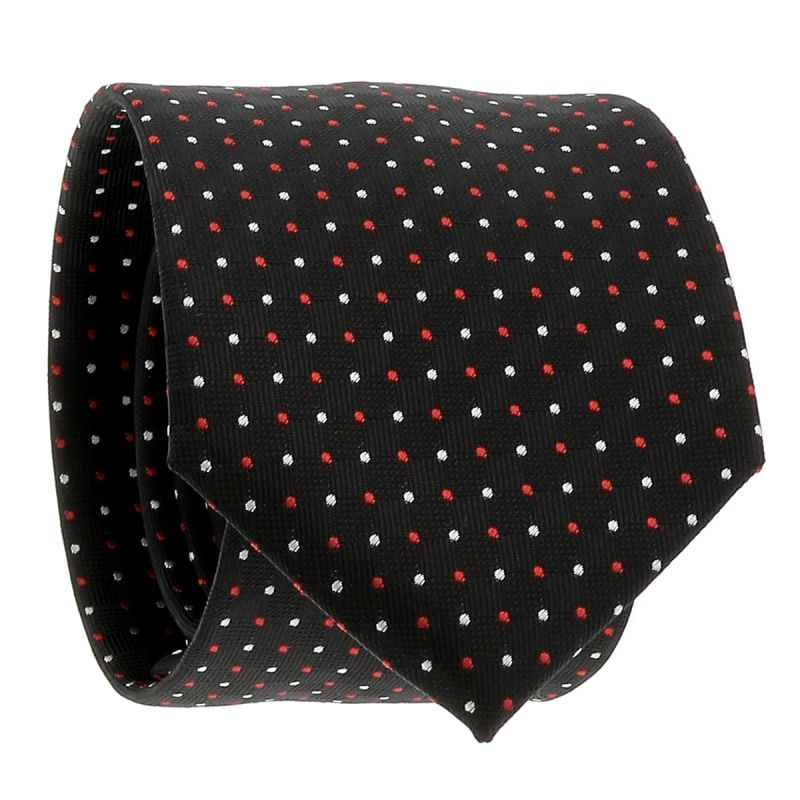 Cravate Noire à Pois Rouges et Blancs