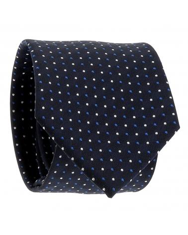 Cravate Bleu marine à Pois Bleus et Blancs