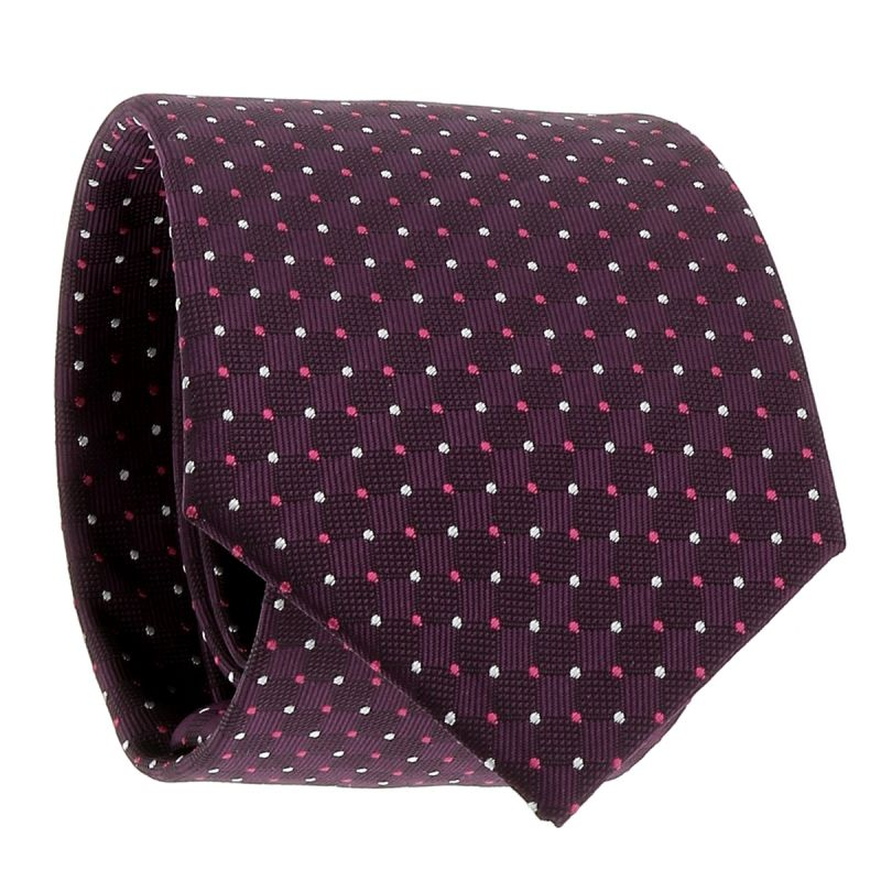Cravate Violette à Pois Rose et Blancs
