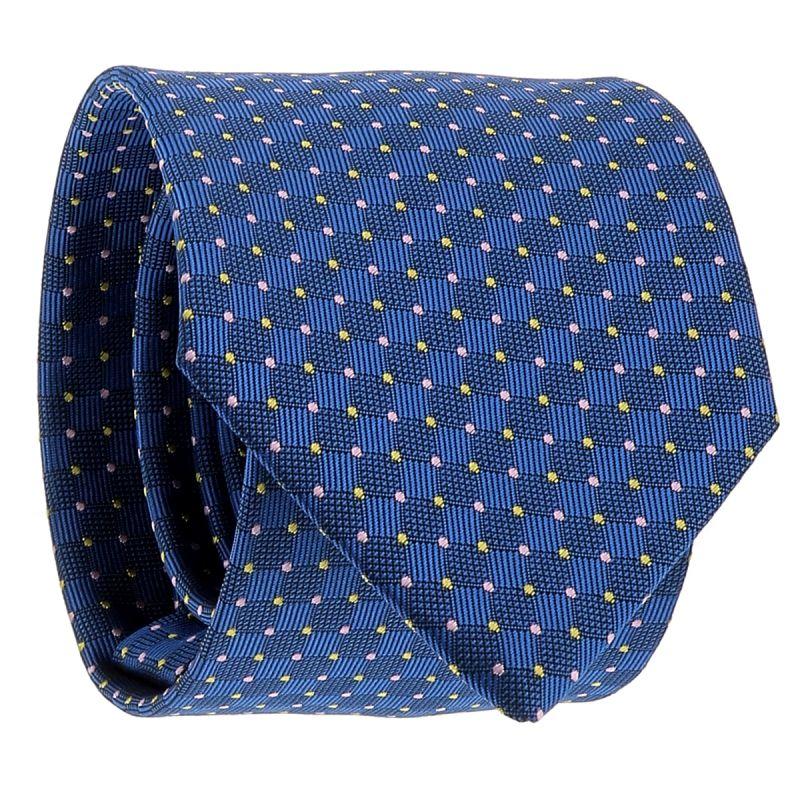 Cravate Bleu roi à Pois Jaunes et Rose