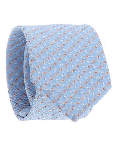 Cravate Bleu ciel à Pois Orange et Blancs
