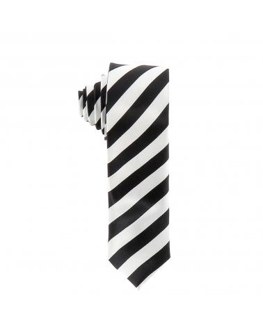 Cravate Rayures Larges Noire et Blanche