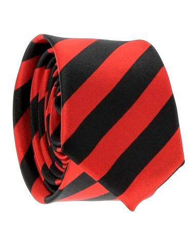 Cravate Rayures Larges Rouge et Noire