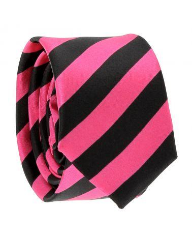 Cravate Rayures Larges Rose et Noire