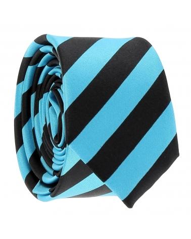 Cravate Rayures Larges Turquoise et Noire