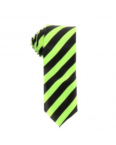 Cravate Rayures Larges Vert Fluo et Noire