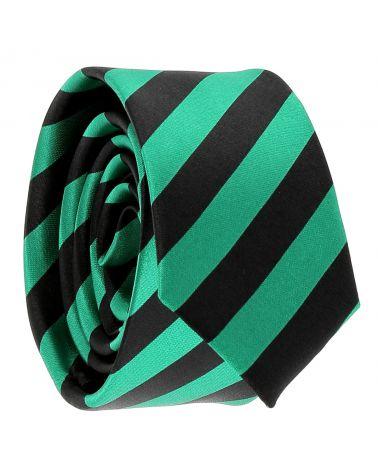Cravate Rayures Larges Verte et Noire