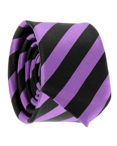 Cravate Rayures Larges Violette et Noire
