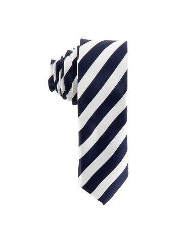 Cravate Rayures Larges Bleu marine et Blanche