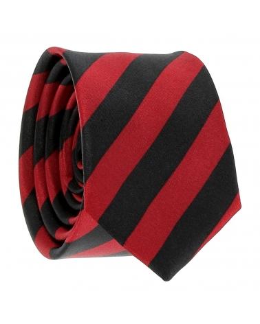Cravate Rayures Larges Bordeaux et Noire