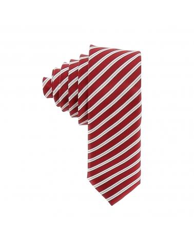 Cravate Rayée Bordeaux et Blanc