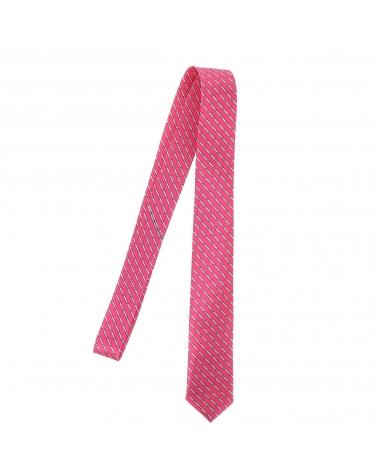 Cravate Rayée Fantaisie Rose vif et Blanche