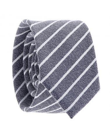 Cravate Coton Bleu marine à Rayures Blanches