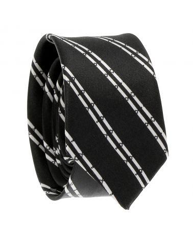 Cravate Rayée Fantaisie Noire et Blanche