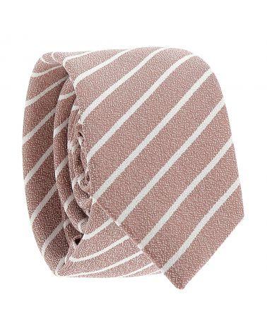 Cravate Coton Vieux rose à Rayures Blanches