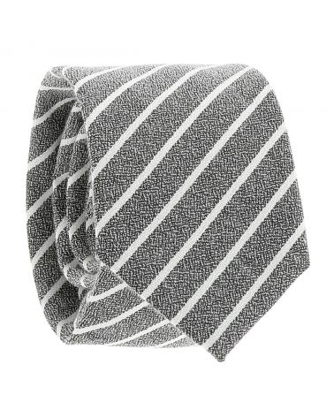 Cravate Coton Grise à Rayures Blanches