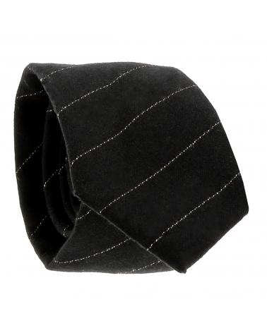 Cravate Coton Noire Rayures Fines