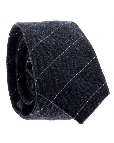 Cravate Coton Bleu marine Rayures Fines