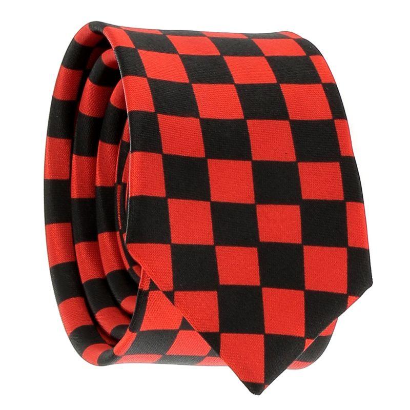 Cravate Rouge et Noire Damier