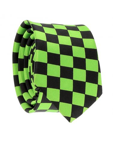 Cravate Verte et Noire Damier