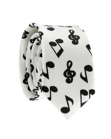 Cravate Note de Musique Blanche et Noire