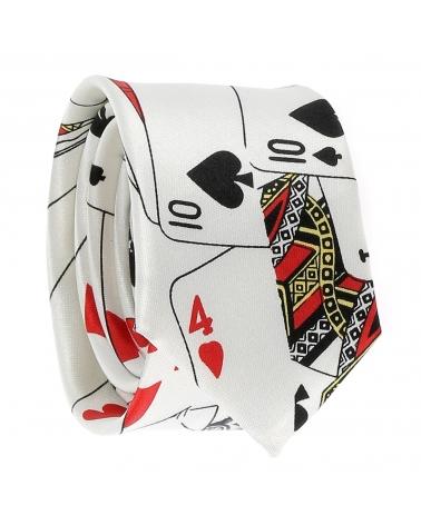 Cravate Jeux de Cartes Blanche