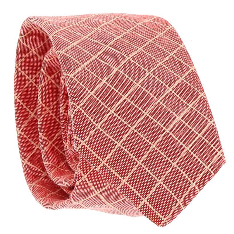 Cravate Coton Corail à Carreaux