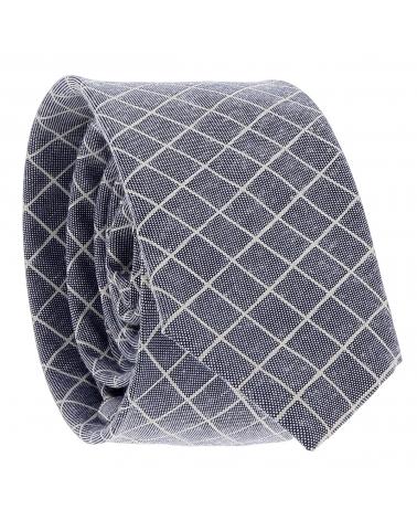 Cravate Coton Bleue à Carreaux