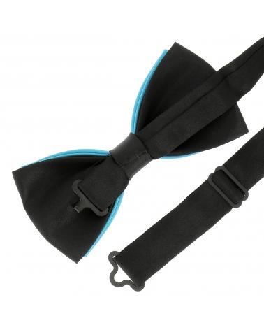 Noeud Papillon Bicolore Bleu turquoise et Noir