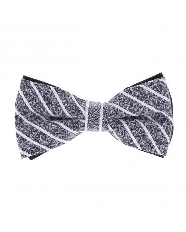 Noeud Papillon Coton Bleu Rayures Blanches