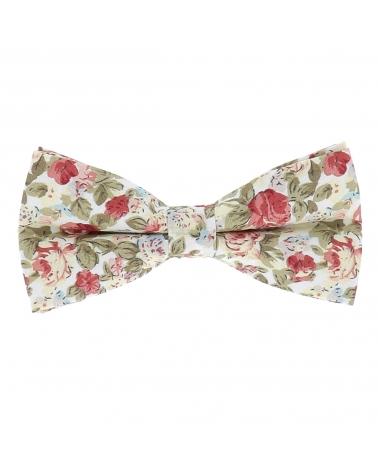 Noeud Papillon Fleuri Blanc et Rose Tendance Bohème