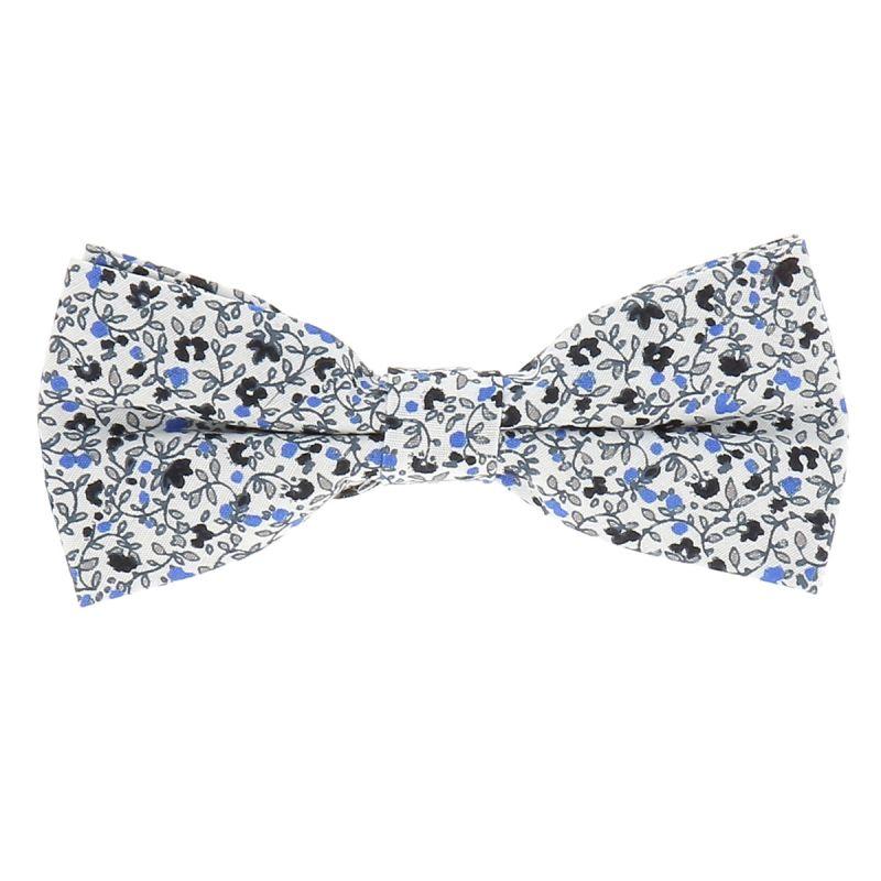 Noeud Papillon Fleuri Mariage Couleur Bleu