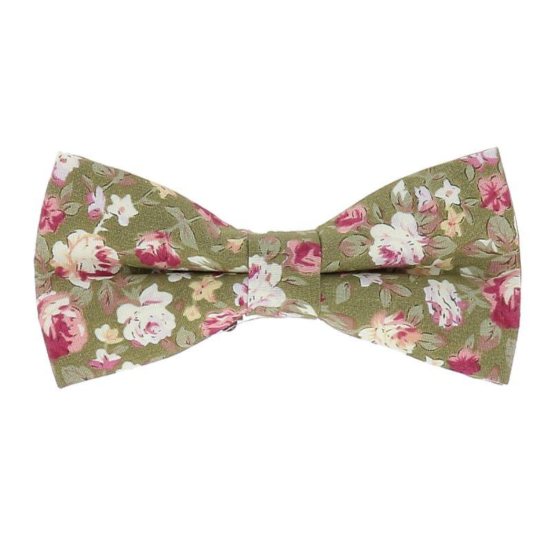 Noeud Papillon Fleuri Vert et Rose Tendance Bohème