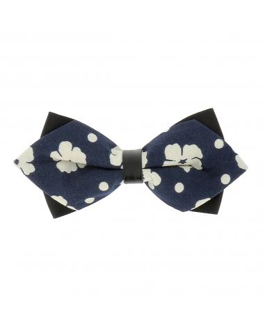 Noeud Papillon Double Fleurs Bleu marine