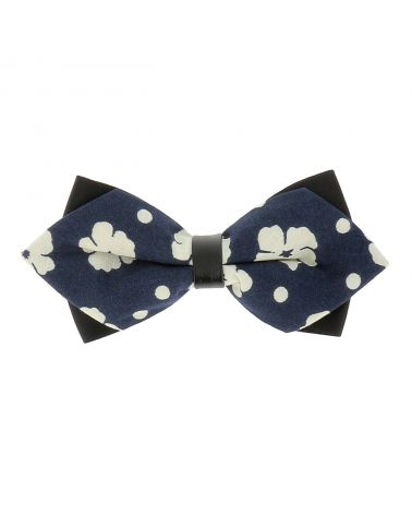 Noeud Papillon Homme Pointu Fleuri Bleu marine et Blanc Look Bohème